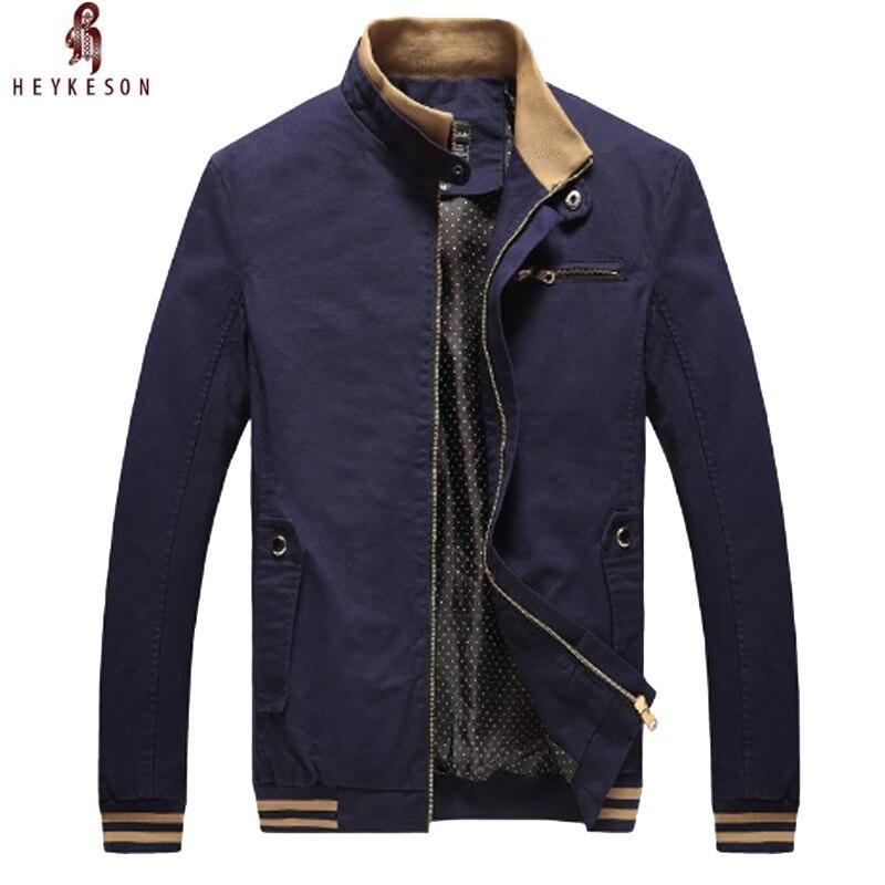 HEYKESON 2018 marca primavera otoño hombres chaqueta Casual abrigo Moda hombre lavado 100% puro algodón marca-ropa chaquetas hombres abrigos