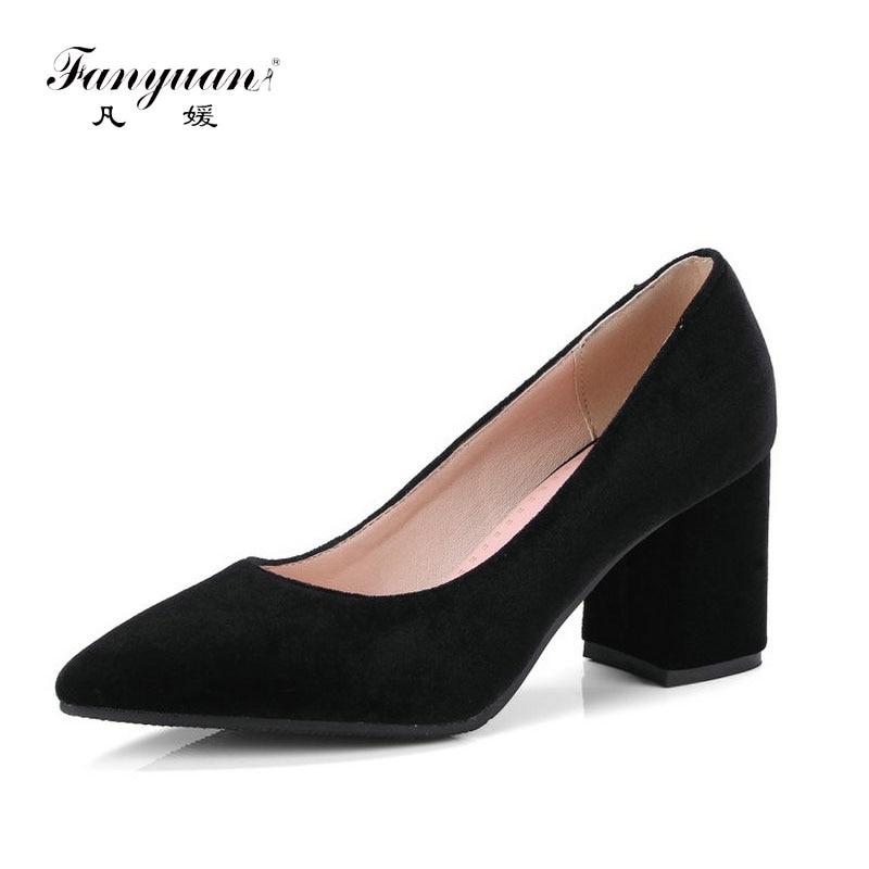 fanyuan velour velvet classic office woman pumps shoes green burgundy black stilettos block high heels women shoes size 43