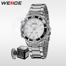 WEIDE luxury genuine business watch stainless steelin quartz watch water resistant relogio LED digital sport analog white clock цена