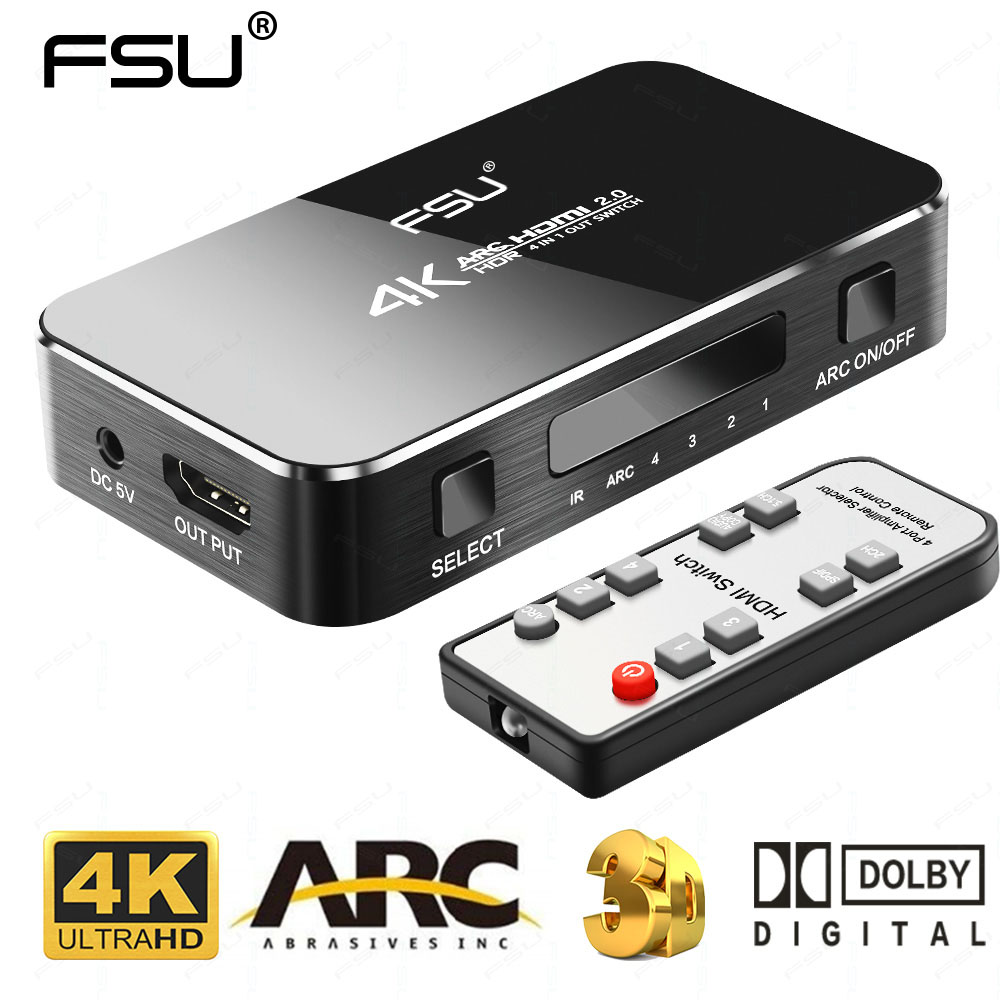 FSU UHD HDMI interruptor 2,0 4 K HDR 4x1 Adaptador conmutador con Audio Extractor 3,5 jack de fibra óptica cable arco divisor para HDTV PS4