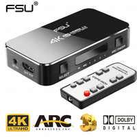 FSU UHD HDMI przełącznik 2.0 4K HDR 4x1 Adapter przełącznik z ekstraktor audio 3.5 jack kabel światłowodowy łuku splitter do telewizora HDTV PS4