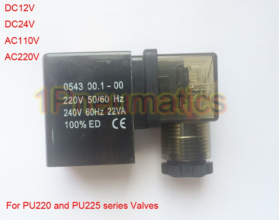 Free Shipping 2PCS/Lot PU Solenoid Valve Coil 0543 Type DIN43650A Led DC12V DC24V AC110V or AC220V free shipping repairing part 3 pin din plug led solenoid valve connector ac 220v