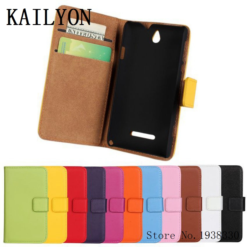 KAILYON Luxury Genuine Leather Case For Sony Xperia E Dual C1605 C1604 C1505 C1504 Wallet Flip Phone Cover Bags With Stand CardKAILYON Luxury Genuine Leather Case For Sony Xperia E Dual C1605 C1604 C1505 C1504 Wallet Flip Phone Cover Bags With Stand Card
