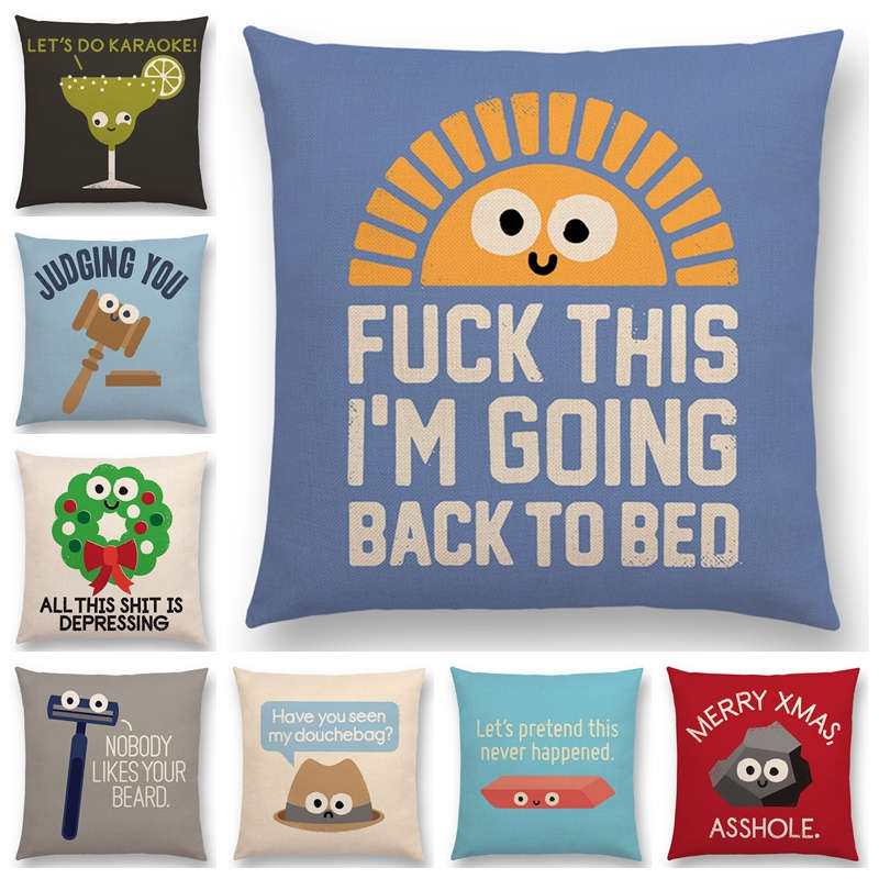 Newest Cartoon Series Cushion CoverTurnip Bulb Pizza Funny Words Decorative Letters Sofa Pillow Case