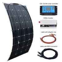 BOGUANG Вт 100 Вт панели солнечные 12 В в 10A контроллер и 110В или 220В Вт 1000 инвертор решетки системы с USB для начинающих RV/лодка