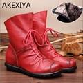 2016 Estilo Quente Do Vintage de Couro Genuíno das Mulheres Botas Flat Botas de Couro Macio Mulheres Sapatos Zip Frente Ankle Boots zapatos mujer