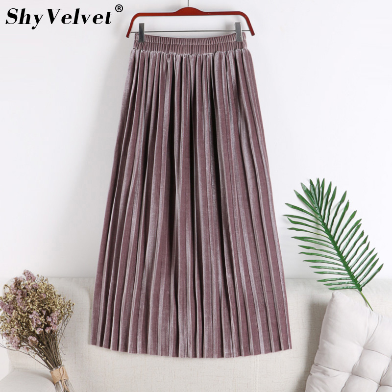 Korean Style Long Velvet Skirt Women 2018 Autumn Winter Pleated Skirt Casual Elastic High Waist Tutu Skirts Womens Pink Red-in Skirts from Womens Clothing on Aliexpresscom  Alibaba Group