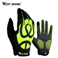 WEST BIKING Full Finger Touch Screen Cycling Gloves Unisex Sport Gel Bicycle Gloves Anti Slip Pad