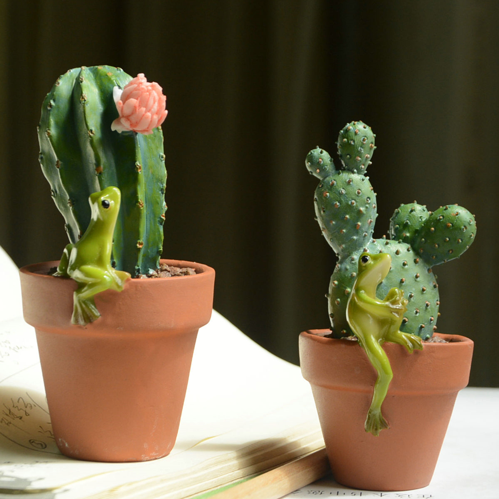 Everyday Collection Creative Green Cactus Bonsai Garden Decor Lovely Animal Figurines  Home Plant Simulation Ornaments