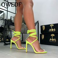 QWEDF 2019 Plus Size 35 43 Women 11.5cm High Heels Neon Green Sandals Lady Sexy Rose Red Strap Pumps Summer Shoes GB 52