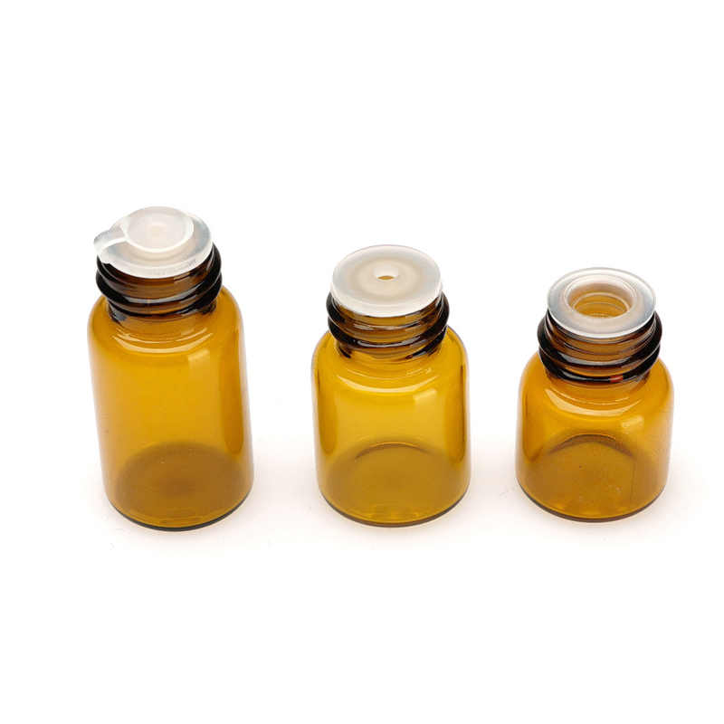 50 sztuk 1ml ~ 5ml Mini butelka szklana bursztynowa małe olejki fiolki z otworu reduktorem i kapslem próbki butli do badania