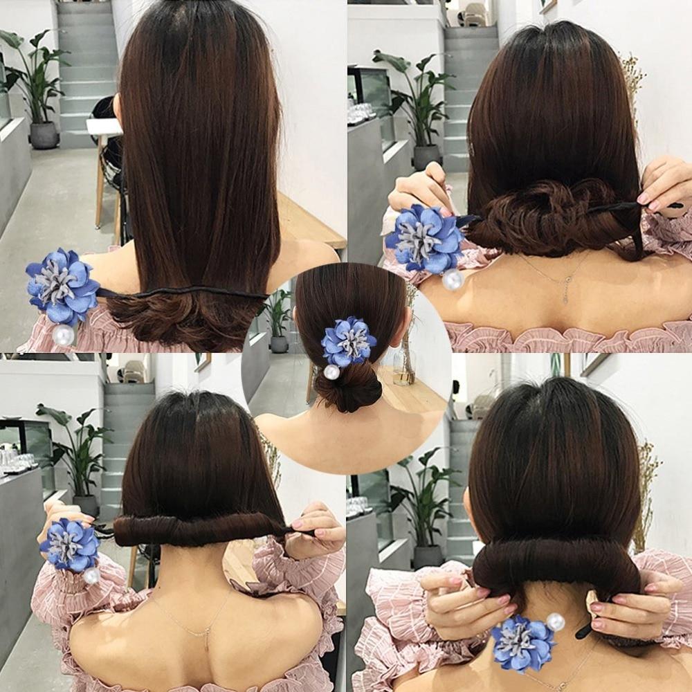 M MISM Magic DIY Hairstyle Girls Ribbons Hair Bun Maker Donut Twist Tool Fabric Flower Headband Hair Accessories French Bud Dish chifres malevola png