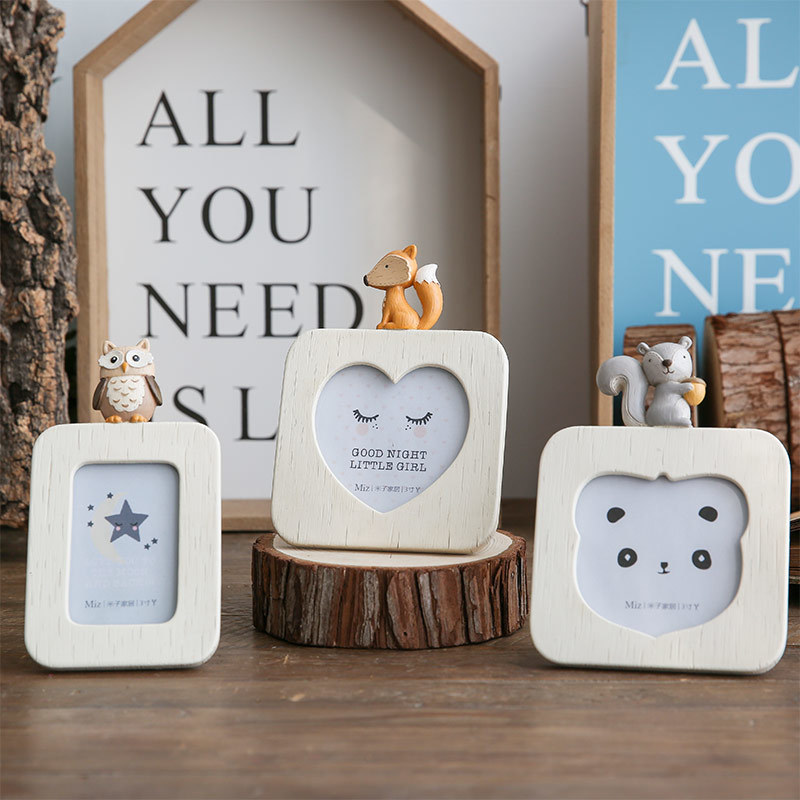 3 Pieces Photo Frame Cute Animal Figurine Small Photo Frame Kids Picture Frame Bedroom Decor Desk Accessories