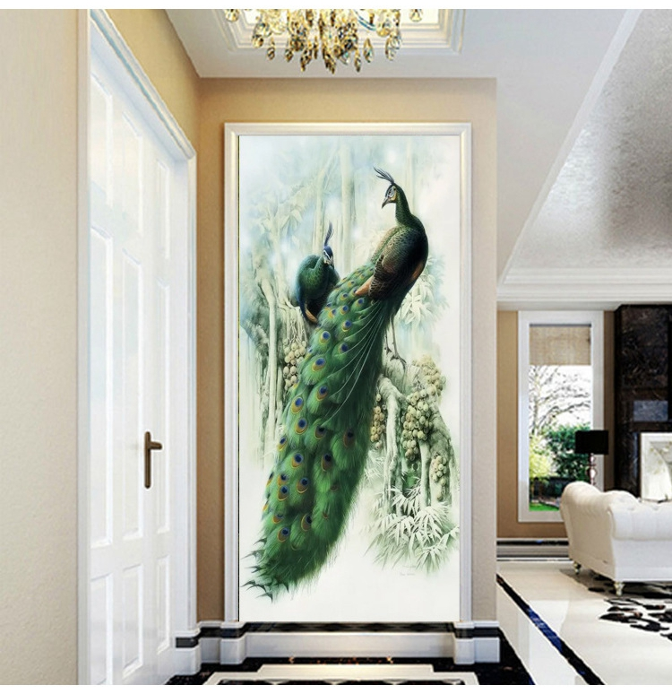 custom 3D stereoscopic Green peacock 3d wallpapers mural living room TV backdrop wallpaper entrance wall painting DIY home decor custom 3d stereoscopic large mural wallpaper wall paper living room tv backdrop of chinese landscape painting style classic