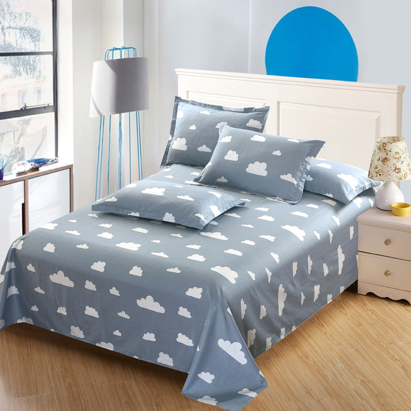 gray white clouds 100 cotton flat sheet cartoon bedding twin full queen king size 3pcs bed sets. Black Bedroom Furniture Sets. Home Design Ideas