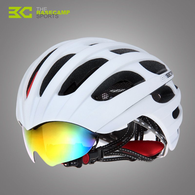 Basecamp MTB Road Cycling Helmet Bike Helmet 32 Vents Integrally-Molded Safe Bicycle Helmets Goggles 3 Lens Ciclismo Casco new bicycle helmets sunglasses cycling glasses 3 lens integrally molded men women mountain road bike helmets 56 62cm