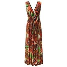 2018 Bohemian Women Summer Long Maxi Dress Sexy V Neck Sleeveless Backless Plus Size 7XL Beach