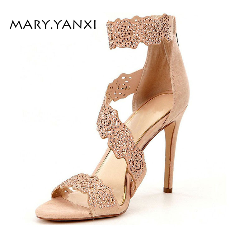 Summer Women Big Size Shose Gladiator Sandals Microfiber Fashion Sexy Thin High Stilettos Heels Solid Crystal Hollow Flower