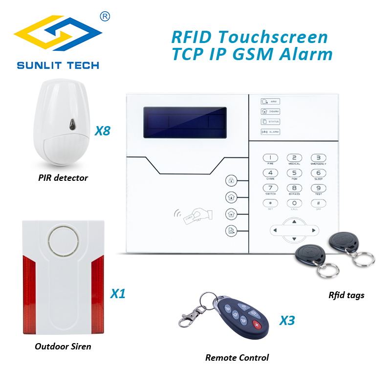 Cyprus Customerized TCP IP GSM Network Alarm System with Outdoor Flash Siren and Pet PIR Motion Sensor