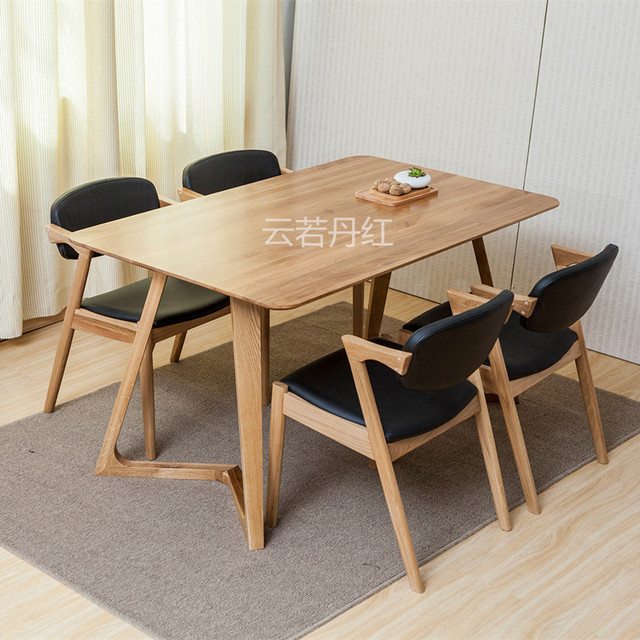 100% Pure Solid Wood Dining Tables And Chairs Combination 1.8M Black Walnut  Color Creative