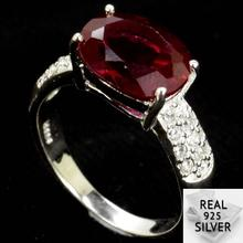 4.3g Real 925 Solid Sterling Silver Blood Ruby SheType Rings US 7.75# 20x10mm