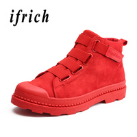 New Casual Men Boots Red Black Work Male Boots Designer Outdoor Shoes for Men Rubber Sole Non Slip Fashion Boots Men