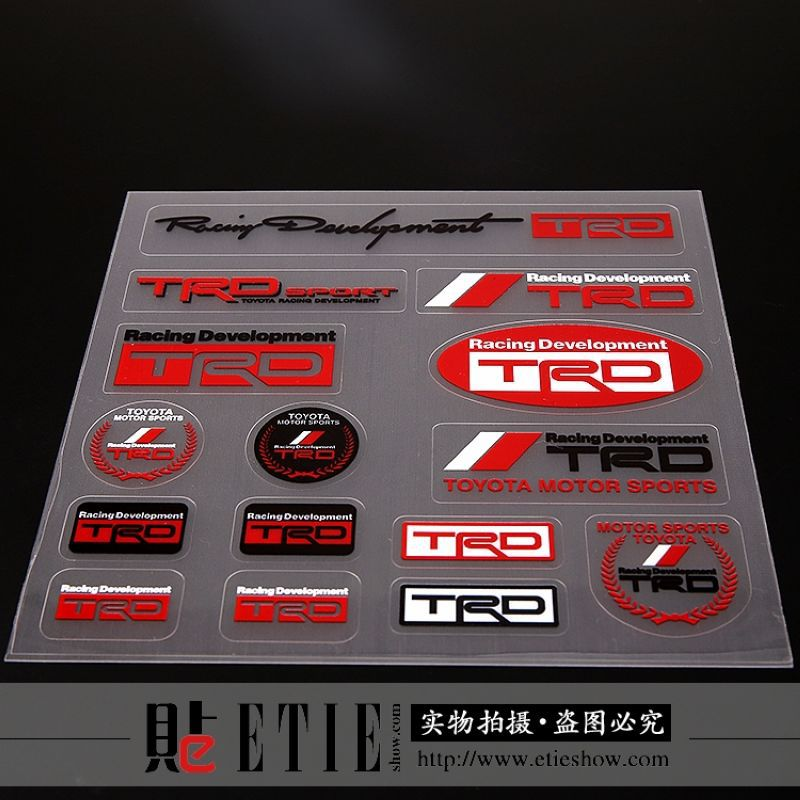 Etie motorcycle sticker design toyota motor sports logo sticker decals transparent vinyl trd label sticker for whole car body in decals stickers from