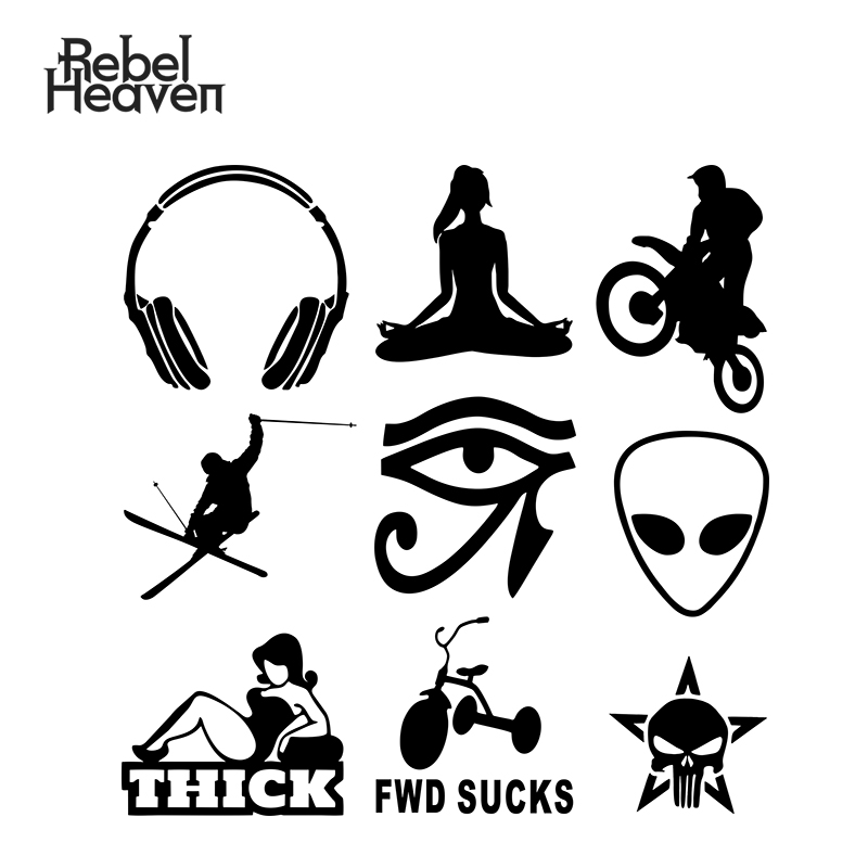 Rebel Heaven Car Sticker Viniy JDM Decorative Window Headphone ALIEN HEAD Eye of Horus Yoga FWD SUCKS <font><b>Bike</b></font> Car <font><b>Assessoires</b></font> image