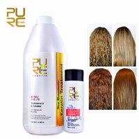 PURC 12% Formalin 1000ml Brazilian Chocolate Keratin Treatment + 100ml Purifying Shampoo Repair and Straighten Damaged Hair Care