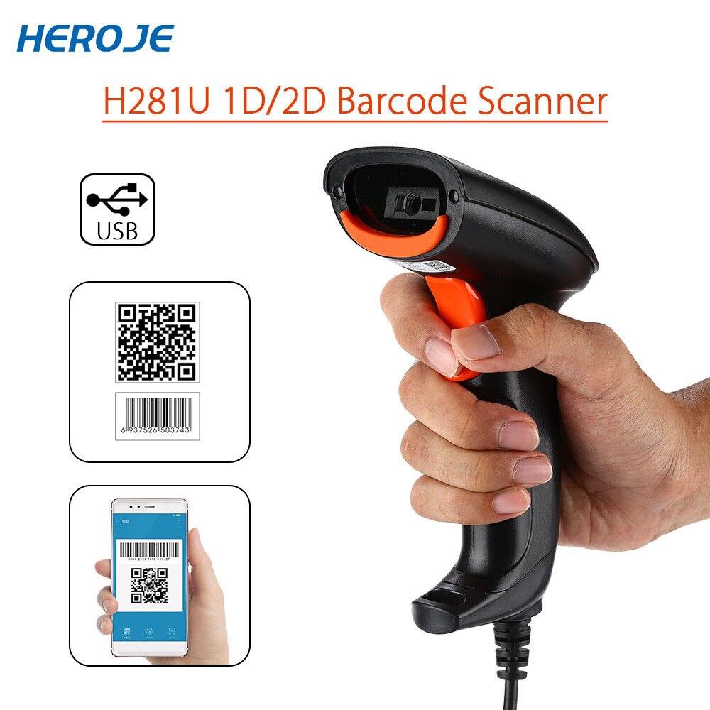 Heroje H281U QR Code Scanner USB Portable Handheld Wired Scanner 2D DataMatrix PDF417 Bar Code Reader Screen Payment QR Reader