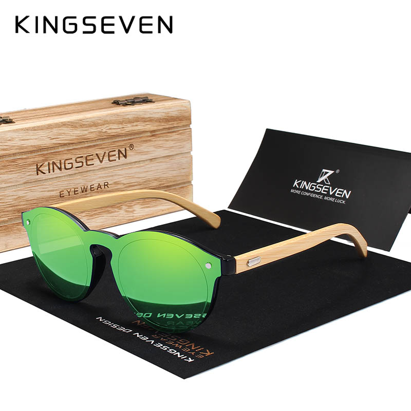 KINGSEVEN Sunglasses Men Bamboo Sun Glasses Women Brand Designer Original Wood Glasses Oculos de sol masculino 2