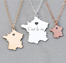 цена на France Map Necklace Europe Jewelry France Paris Necklaces Personalized Charm France Pendant Engraved  YP6081