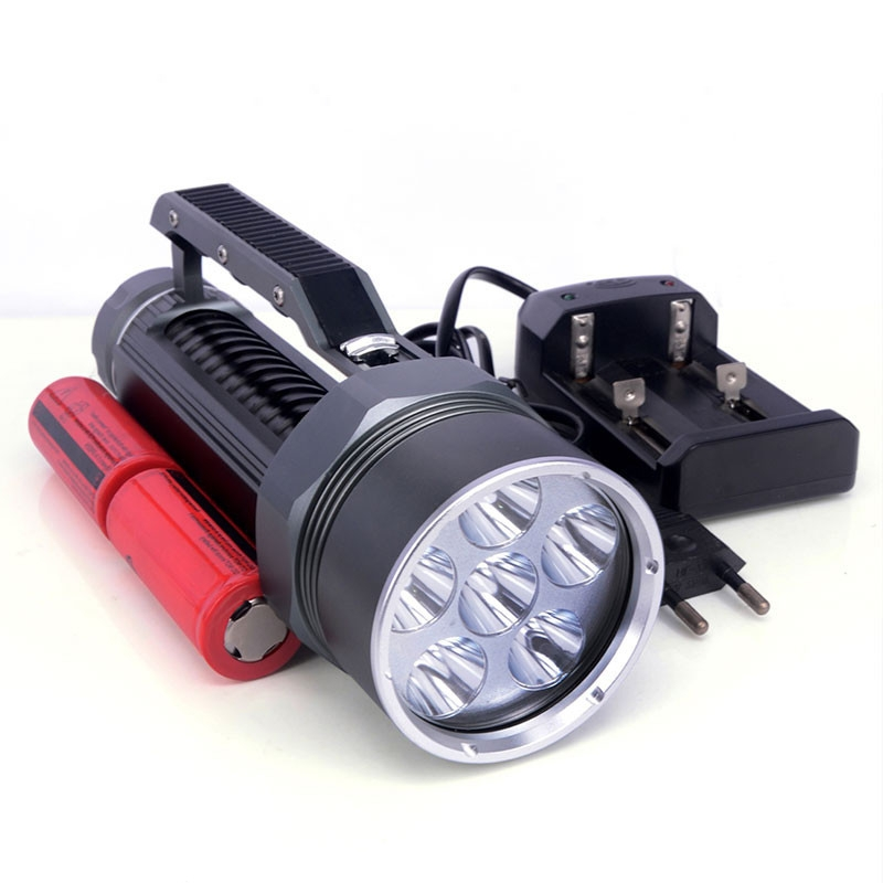 Wasafire Diving Flashlight Waterproof 6 x XM-L2 8000LM LED Diving Flashlight Underwater Lamp Torch + 2 x 26650 Battery + Charger