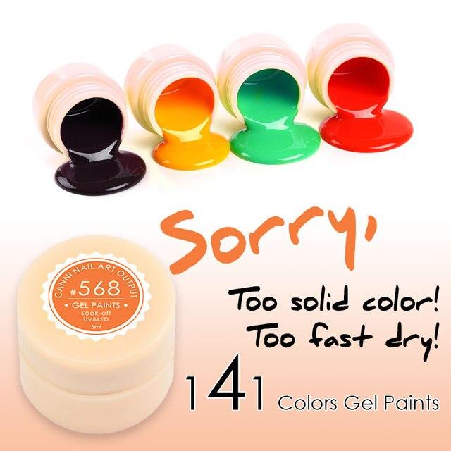 Pittura CANNI Gel 5 ml LED Lampada 141 Pure Colori Solidi Più Caldo Gel Laqcuer Polacco Nail Art Design Nail Gel Vernice Vernice UV Gel