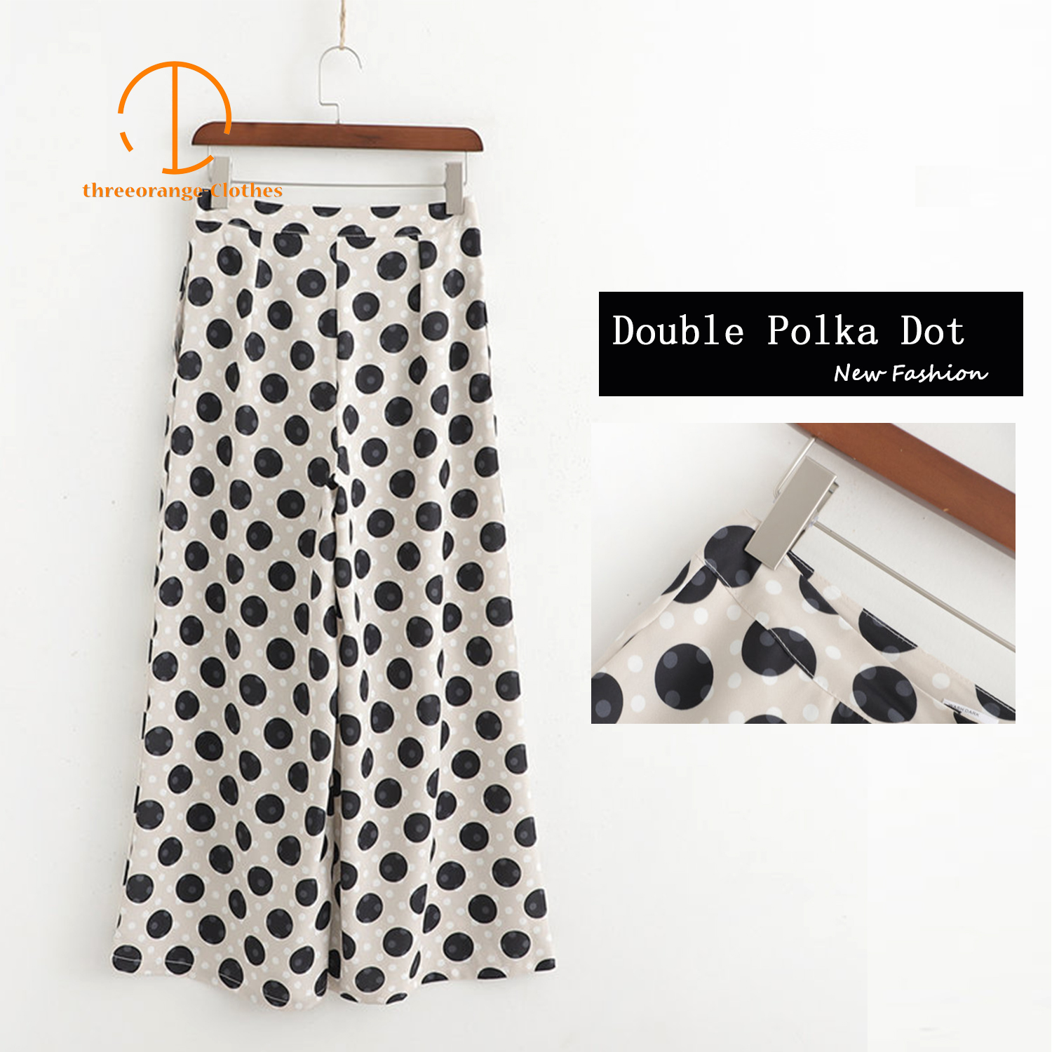 ZA Big&Small Polka dot satin   pants   New Fashion Summer   pants   women office lady stylish easy-matching Casual loose   wide     leg     pants
