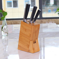 Multifunctional Holes Bamboo Knife Rack Creative Storage Rack Tool Wood Kitchen Knife Holder Knife Stand Block Supplies