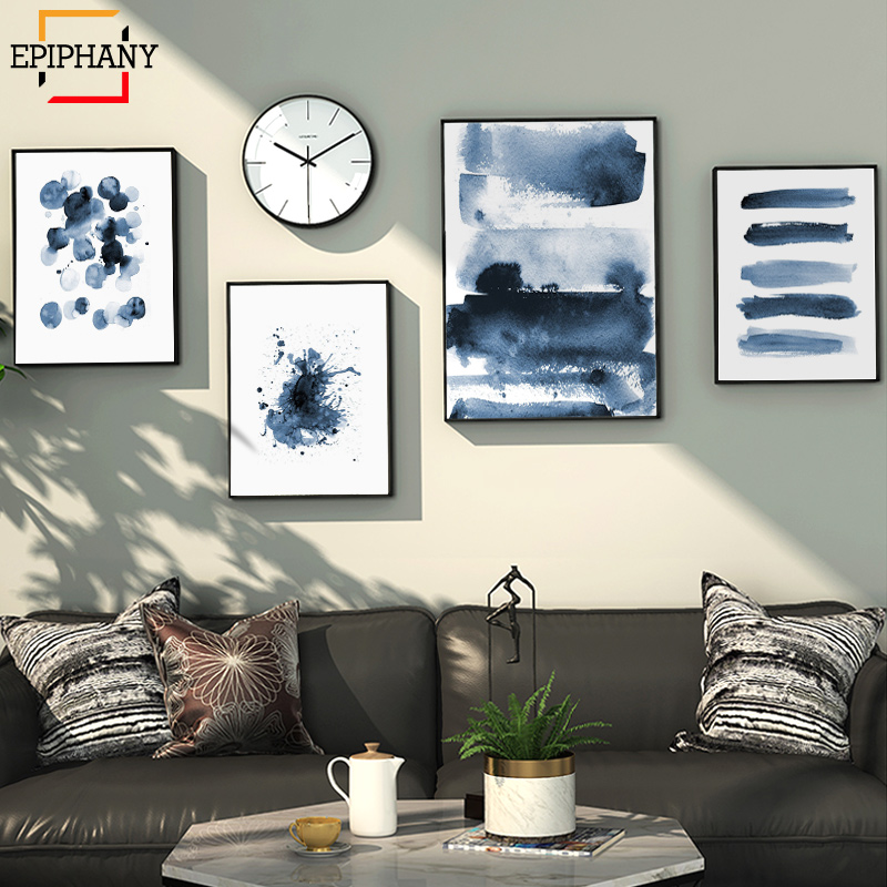 Modern Canvas Painting Blue Abstract Print Large Wall Art Indigo Blue Watercolor Scandinavian Posters Living Room Home Decor(China)