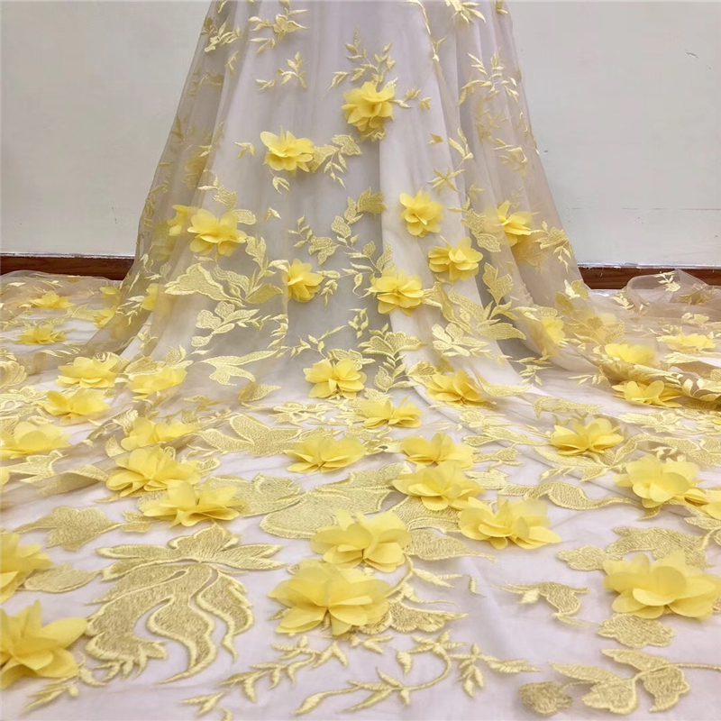 VILLIEA Latest 3D Lace Fabric Yellow Flowers Embroidered Lace Fabric With 3D Flowers Bridal Lace Fabric