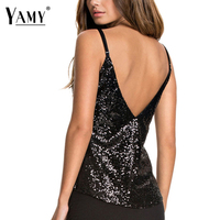 Cropped Top Women Elegant Shirts Black Sequined Backless Party Sexy Tank Tops Women Blusas Brand Design