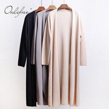 Ordifree 2019 Summer Women Summer Knitted Long Cardigan Sunscreen Long Coat Knitted Sweater Black Grey Female Cardigan