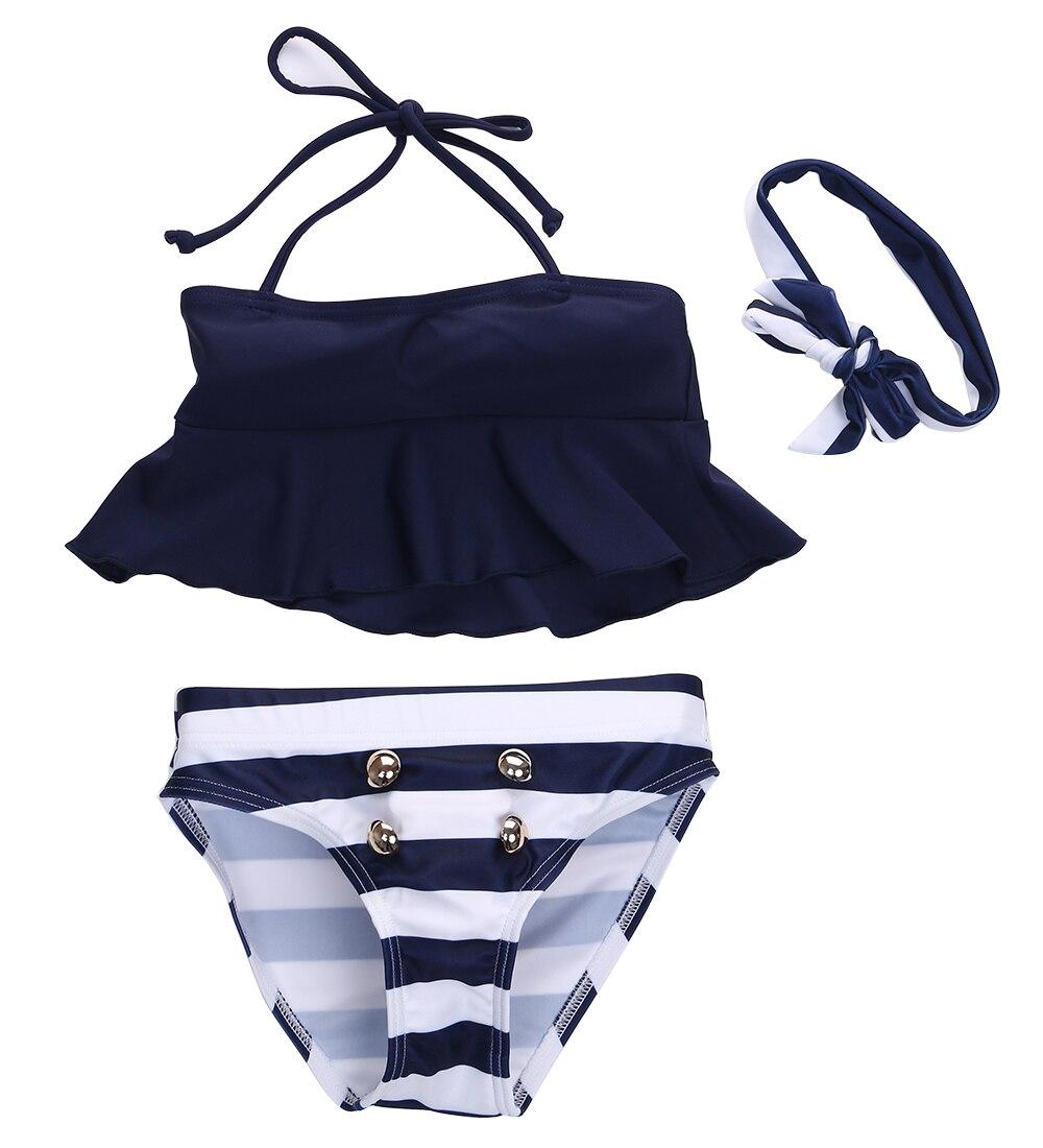 2016 neueste 3 Stücke Kinder Baby Mädchen Bikini Anzug Outfits Navy Gestreiften Stirnband Badeanzug Bademode Baden Schwimmen Kleidung