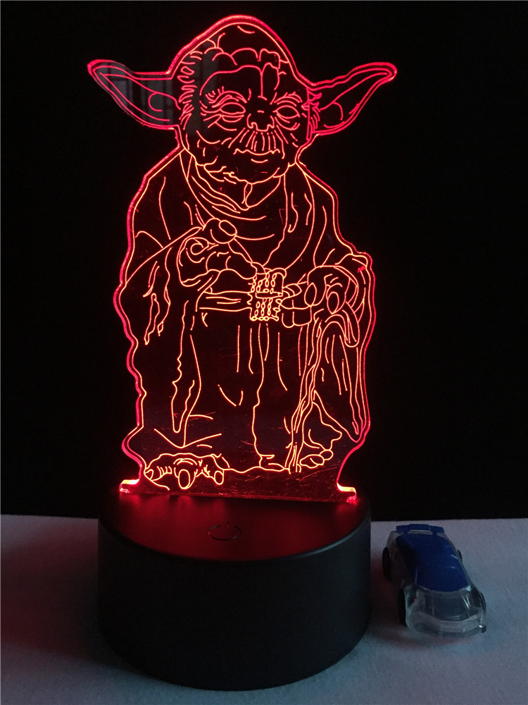 Star Wars 3d RC Remo Lamp Led Master Yoda Leader Night Light Child Kid Bedroom Decor Birthday Xmas Halloween thanksgiving Gift 3d navidad merry christmas postcard tree greeting cards postcards birthday gift message card xmas thanksgiving card