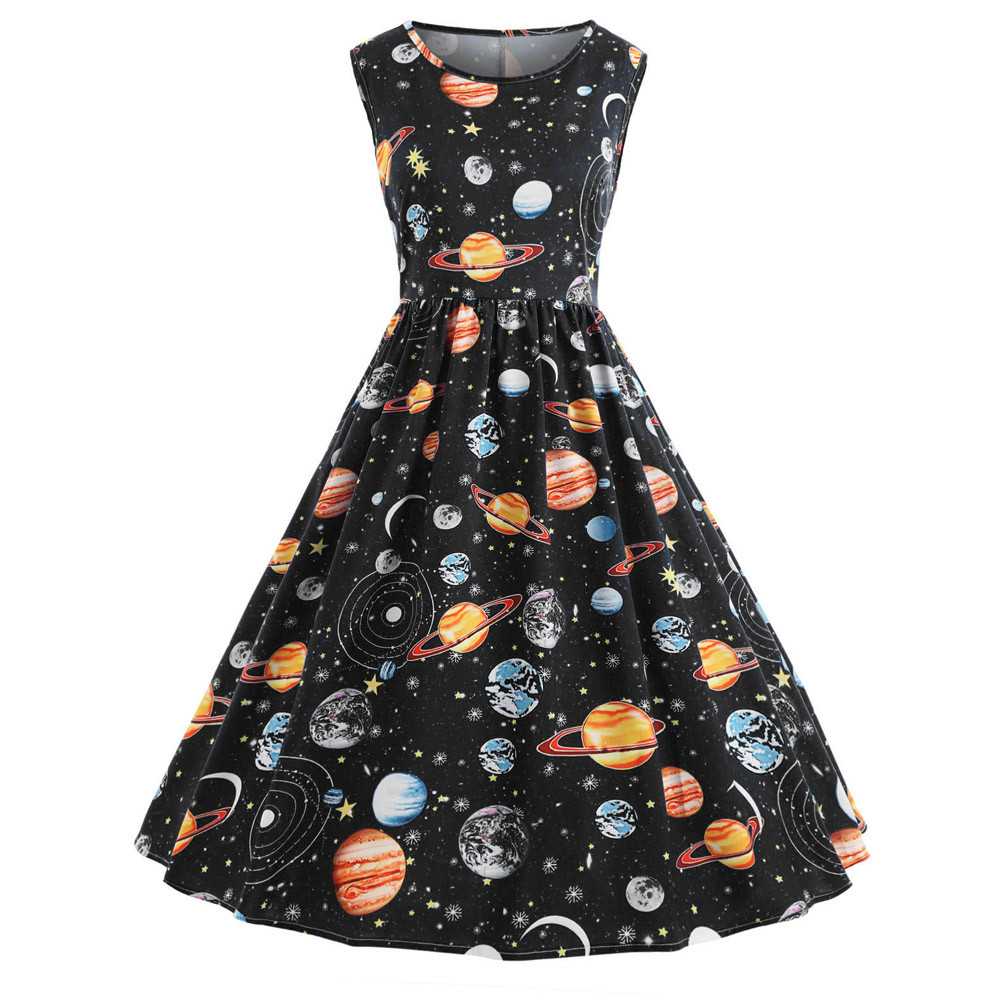 488a57cbeac6 feitong summer dress women with sleeves Women Vintage Printing Starry Sky  Planet Space Dress sexy dress