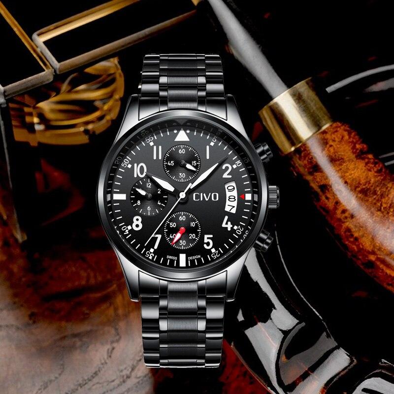 e1c648d7 Cheap CIVO moda impermeable relojes negro de acero inoxidable de cuarzo  reloj de los hombres del