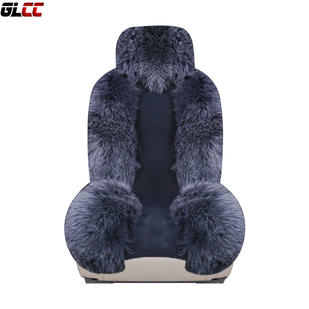 Long Wool Car Seat Cover Full Set Universal Sheepskin Fur Seat Cushions Winter Australia Wool Seat Covers 4pcs For Nissan ogland natural fur comfort authentic fluffy sheepskin car seat cover for soft car seat cushion made of australia wool automobile