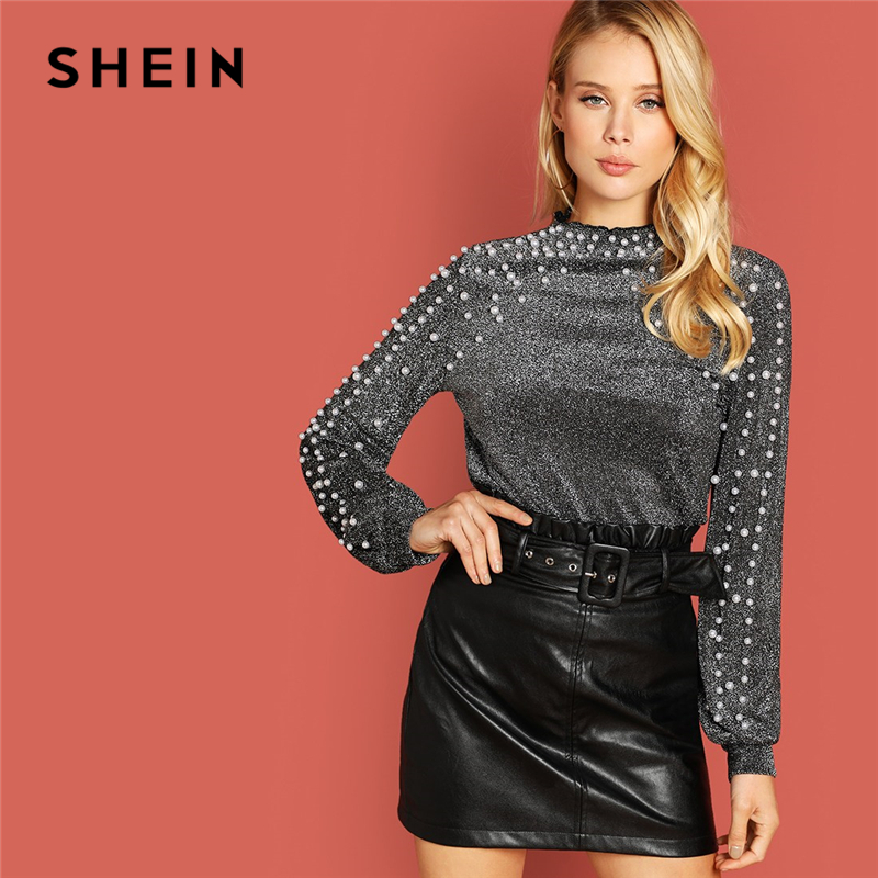 SHEIN Going Out Silver Modern Lady Pearl Beading Bishop Sleeve Glitter op  Women Autumn Plain Minimalist Sweatshirts e2d29cc78