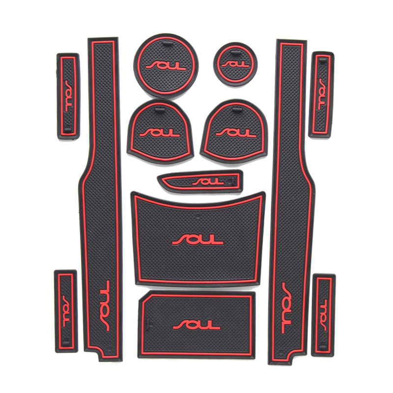 13Pcs Lot Car Interior Upholstery For Kia SOUL Rubber Mat Car Accessories Non-Slip Mat Auto Accessories Interior