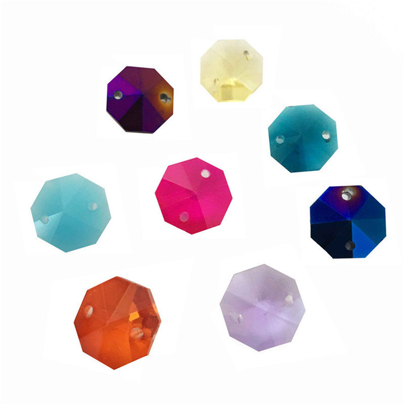 12000pcs Lot Mixed Color 14mm Crystal Octagon Beads In 2 Holes For Crystal Chandelier Prism Beads