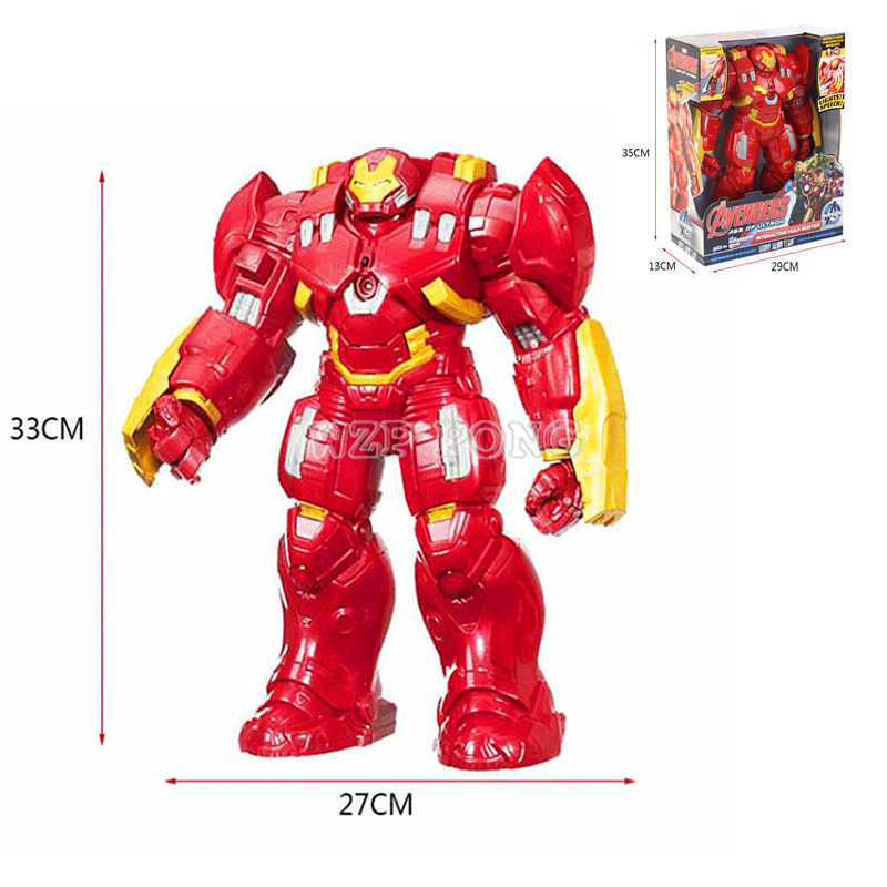 Avengers Anime Anti-Hulk Figure Hulkbuster Toys Lights Voices Joint Movable Speak English Action Figures Children Gift image