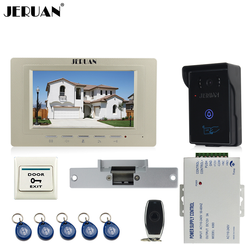 JERUAN luxury 7`` Video Intercom Video Door Phone System+700TVL RFID Access Waterproof Touch key Camera+Cathode lock jeruan 7 inch video door phone intercom system kit rfid touch key waterproof access camera 180kg magnetic lock remote control